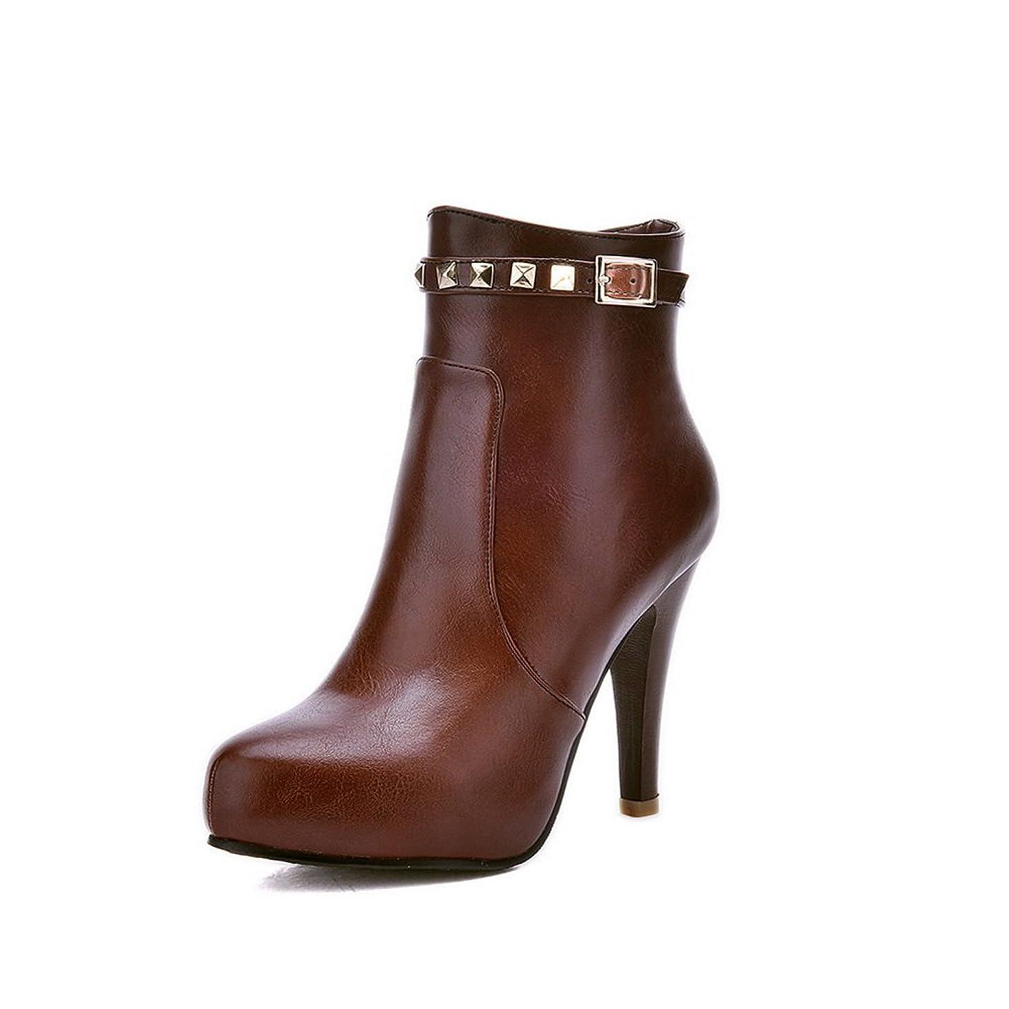 ぴったり多様な見込み[BalaMasa] レディース ドレス ファッションチェックのハイヒール プラットフォーム 金属バックル Puの皮 ブーツ?ブーティ