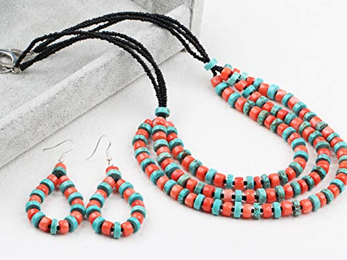 Anniversary Gift Coral Quantity limited Red Turquoise Necklace Layered Outlet sale feature Set