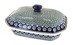 "Polish Pottery Peacock Swirl Large Covered Baking Dish. <a href=""https://www.amazon.com/gp/product/B003BPDXM8/ref=as_li_qf_asin_il_tl?ie=UTF8&amp;tag=ris15-20&amp;creative=9325&amp;linkCode=as2&amp;creativeASIN=B003BPDXM8&amp;linkId=03d5c9c3e4ae973a703a5aa4beee3bcb"" target=""_blank"" rel=""nofollow noopener noreferrer""><span style=""text-decoration: underline; color: #0000ff;""><strong>Buy it on Amazon today.</strong></span></a>"