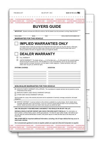 2 Part Dealer Buyers Guide Form, English Format - Implied Warranty