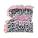 Max Daniel Baby Plush Print Baby Throw - Black Jaguar, Pink Ruffle