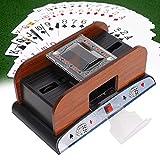 Barajador de cartas, barajador de cartas de madera Máquina automática de barajadora de cartas con pilas para póquer de 2 cubiertas