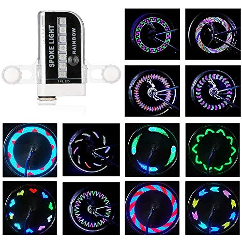 ROTTAY Bicycle Wheels Lights, Waterproof Bike Rim Lights/Spoke Lights With 14-LED and 30 Light Patterns for MTB Wheel Tire (2 packs)
