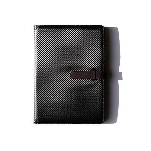(JOIN・K) バインダー クリップボード a4 二つ折り カーボンレザー 書類ケース 持ち運び ブラック×ダークブラウン