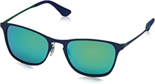 Kids' RJ9539S Square Metal Kids Sunglasses, Rubber Green/Blue/Flash Green, 48 mm
