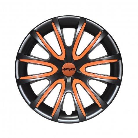 FARAD Universale Radkappen Radzierblenden Radblenden 15 Zoll Black/Orange