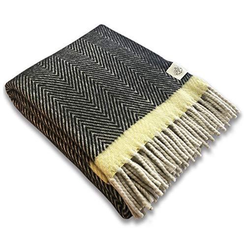 Craft Story Clara - Manta (140 x 200 cm, 100% pura lana virgen, lana virgen, lana de oveja), color negro, crema y amarillo