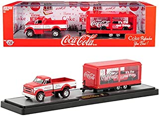 1970 Chevy C60 Pickup Truck Coke Red and White with Trailer & 1968 Chevy Camaro SS 350 Coke Red with Black Hood Coca-Cola Set Limited Edition to 5,880 Pieces 1/64 Diecast Models by M2 Machines