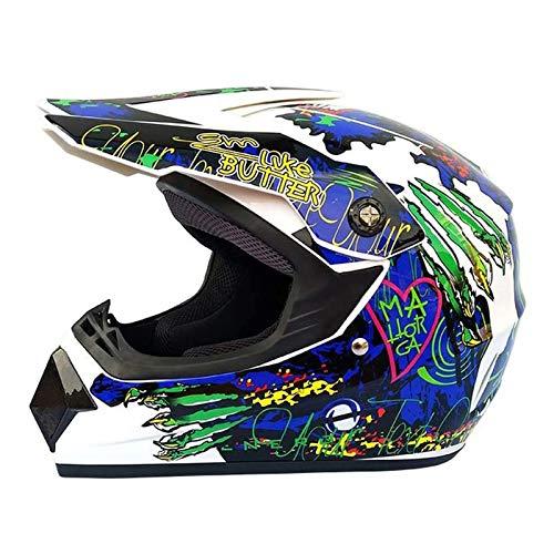 CZLWZZD Motocross-Helm Kinder-Motorradhelm,DH-Downhill-Dirt Bikes,DOT-Zertifizierungshelm,Full Face MTB-Helm mit Schutzbrille Handschuhe Maske, Geeignet für Erwachsene