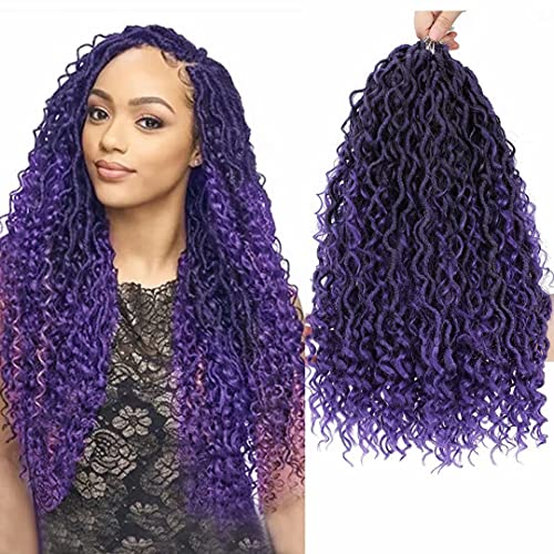 New Goddess Locs Crochet Hair 6 Packs 14 inch Purple Boho Faux Locs Wavy Crochet Hair River Faux Locs Crochet Hair with Curly in Middle and Ends Boho Style Synthetic Hair Extensions(T1B/Purple#)