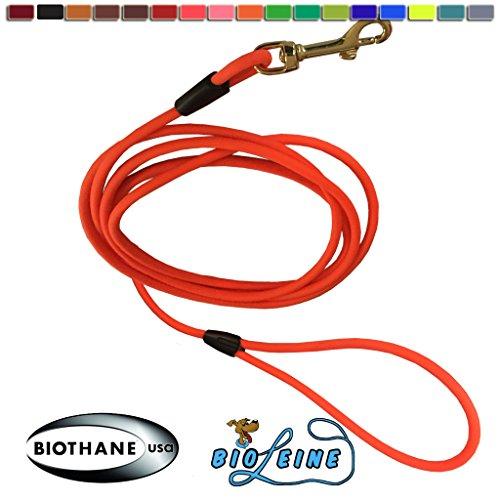 bio-leine Schleppleine aus runder Biothane - 3 Meter Länge, Ø 6,4 mm, für kleine und große Hunde, schmutz- und Wasserabweisende Hundeleine Schleppleinen, Neon-Orange