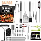 34Pcs BBQ Grill Accessories Tools Set, Stainless Steel Grilling Tools with Carry Bag, Thermometer,...
