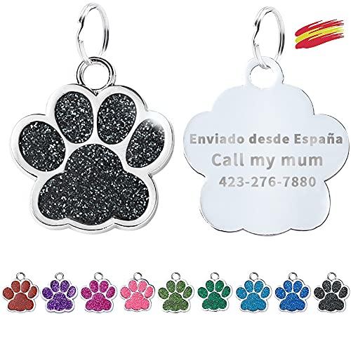 FUSIYU Placa Chapa Medalla, Etiquetas de Identificación de Mascotas Etiquetas de Perro Personalizada Grabado para Collar Perro Gato Mascota Grabada Brillantitos Acero Inoxidable, Pata Plata,Negro