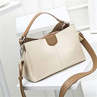 Vioaplem Top Handle Bag For Ladies Shoulder Bag Ladies Small Leather Hobo Messenger Bag Fashion Handbag Purs Baguette Bucket Flap Frame Crossbody Bag (Color : Beige)