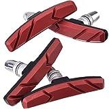 Hotop Pastillas de Freno de Bicicleta V con Tuercas Hexagonales y Espaciador Set de Bloques de Freno de Bicicleta V 70 mm (2 Pares, Rojo)