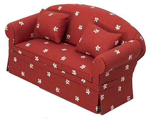 Inusitus Miniature Dollhouse Sofa - Dolls House Furniture Couch - 1/12 Scale (Red with dots)