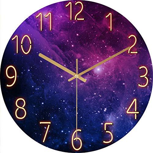 LucaSng Wanduhr Lautlos, 12-Zoll Wand Uhr ohne Tickgeräusche, Galaxie Sterne Weltraum Sternenhimmel Wall Clock Home Decor für Wohnzimmer Kinderzimmer (Stil A)