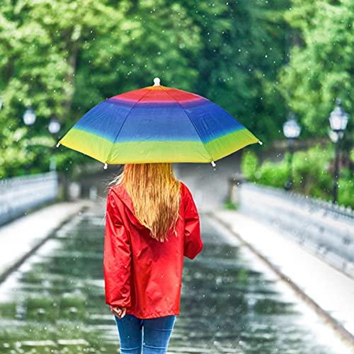 29.9in Manos Libres Gorra de Paraguas de Cabeza Multicolor Sombreros de Pesca arcoíris encantadores Sombrero de Paraguas Colorido en(Rainbow Umbrella Hat)