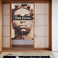 ドアカーテン, Kodak Black コダックブラック 遮熱 カーテン おしゃれ 和風 断熱 玄関カーテン 部屋仕切り 玄関 キッチン リビング 飲食店 出入り口 幅86㎝x丈143㎝