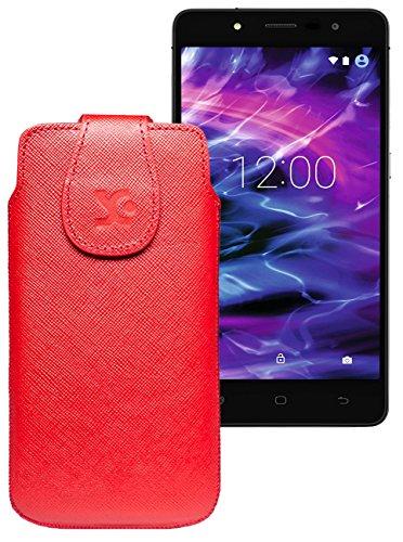 Original Suncase Tasche für MEDION® LIFE® E5005 (MD 99915) | Leder Etui Handytasche Ledertasche Schutzhülle Hülle Hülle / in vollnarbig-rot