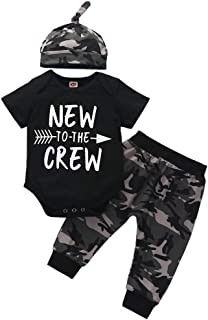Verve Jelly Neugeborene Baby Jungen Kleidung New to The Crew Letter Print Strampler Bodysuit Camouflage Pants Hat 3Pcs Spring Summer Outfits