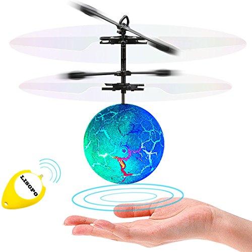 LISOPO RC Fliegender Ball, Mini Flugzeug Hubschruber mit LED Leuchtung Infrarot Flying Ball Für Junge Mädchen Induktionshubschrauber Ball Als Geschenk Handsensor Spielzeug Indoor und Outdoor
