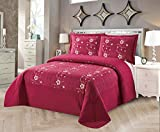 Golden Linens Over Size 3 Pieces Solid Color Embroidery Floral Design Quilt Bedspread Coverlet Set with Two Pillow Shams (Burgundy, Queen)