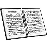 Smilerain 楽譜ファイル A4サイズ バンドファイル 楽譜入れ 直接書き込めるデザイン 楽譜ホルダー クリアファイル収納ホルダー 60ページ (ブラック)