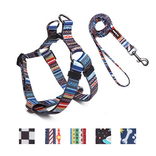 Roses&Poetry Hundegeschirr und Leine Set für mittelgroße Hunde, Verstellbar Brustgeschirr,Perfekte Passform Welpengeschirr für Training Lauftraining und Freizeit (Streifen-M)