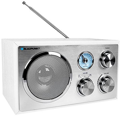 RXN 180 WH, UKW/FM Küchen-Radio Retro, klein, Küchenradio mit Bluetooth, Retro Radio, Bluetooth, Aux In, Nostalgieradio, Teleskop-Antenne, Badezimmer Radio, Analog-Tuner, Radio mit Kabel, weiß