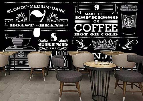 Papel Tapiz Personalizado Minimalista Europeo Pintado A Mano En Blanco Y Negro Cafetería Mural Fondo Pared Mural Póster 3D-430Cmx300Cm(169.3X118.1Inch)