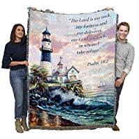 Pure Country Weavers Lord is My Rock Lighthouse - Psalm 18:2 - Blanket Throw Woven from Cotton - Made in The USA (72x54)
