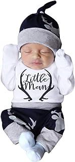Baby Boys Girl Romper Coat, Toddler Kids Letter Print Romper Bodysuit+Pants+Hat Outfits Sets
