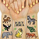 Party Animal: Our jungle tattoos are the perfect goodie bag favor, party decoration, birthday surprise + stay at home activity :) Jungle Tattoos For The Whole Party: two sheets with a total of 30 colored + metallic tattoos featuring handdrawn designs...