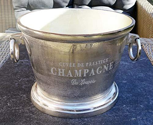 MichaelNoll Champagnerkühler, Weinkühler, Flaschenkühler, Aluminium, Silber - Kühler für Sekt, Wein und Champagner - XXL 38 cm