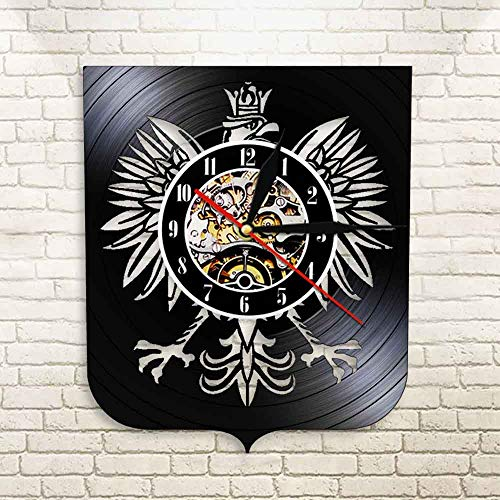 jiushixw 3D Polnische Jacke Polish Falcon Dekorative LED Wandaufkleber Polnische Jacke Arm Polska Wanduhr Horloge Record Aus Echtem Font