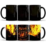 Hosoncovy Taza de cerámica con diseño de caballero negro de Star Wars que cambia de color y cambia de calor, sensible al calor, taza de café, taza de té, taza de leche