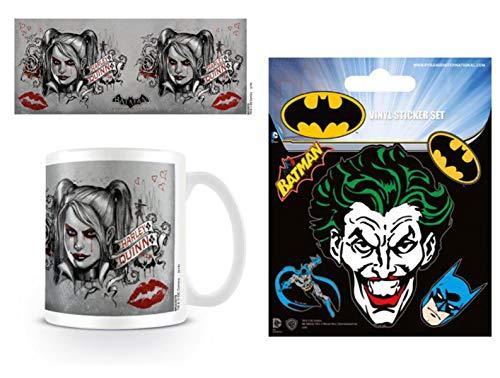 1art1 Batman, Arkham Knight, Harley Quinn Foto-Tasse Kaffeetasse (9x8 cm) Inklusive 1 Batman Poster-Sticker Tattoo Aufkleber (12x10 cm)