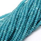 Perlin - Pietre preziose, agata (G189), perline da 4 mm, rotonde e sfaccettate, blu, 30 pezzi, per monili