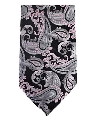 David Van Hagen Black/Silver Paisley cravate de