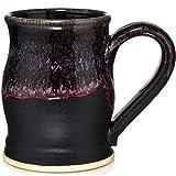 Uncommon Clay 20oz Barrel Coffee Mug Handmade in the USA (Satin Black/Red)