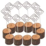MeterMall 10Pcs Wooden Photo Card Holders with Iron Wire for Wedding Decoration Square