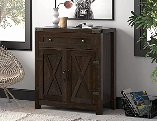 Allewie Accent/Farmhouse Storage Cabinet with Double Doors, Buffet Cabinet, Sideboard with Drawer and 2-Tier Shelves for Living Room, Kitchen, Bathroom, 30 Inches Espresso