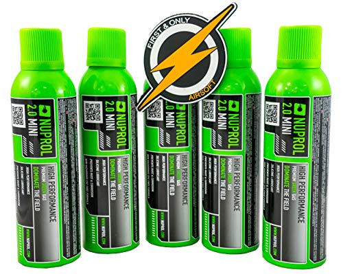 Airsoft Gas deal, Groen gas 5x MINI 85g 145ml 2.0 fles skirmish pack en een Patch vorm First and Only