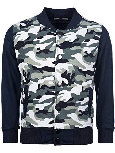Jungen College Sweat Jacke Pullover Sweater Shirt Camouflage Hoodie 30170 Navy Blau 152