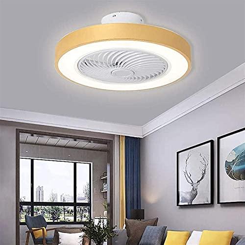 Modernos ventiladores de techo con lámparas LED con techo remoto Dimmable 3 velocidades Techo Fans para sala de estar Habitación para niños (Color : Gold)
