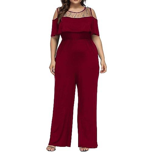 ad129294f0e2 Allegrace Women s Plus Size Lace Cold Shoulder Jumpsuit Flounce Sleeve Long  Rompers