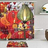 Lieteuy Juego de Cortinas y tapetes de Ducha de Tela,Festival de faroles Coloridos de Asia,Cortinas de baño repelentes al Agua con 12 Ganchos, alfombras Antideslizantes