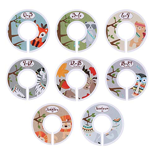 6 / 8pcs Kunststoff Kleidung Markierung Tags DIY Handwerk Babykleidung Größe Teiler Lagerregal Home Garment Labels Organisieren Kleiderbügel, 8PCS Animal Pattern, USA