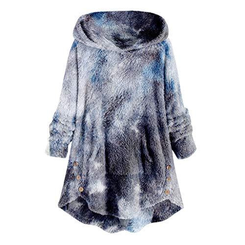 YSLMNOR Tie Dyed Fleece Blouse Womens Asymmetrical Button Hem Hoodie with Pocket Plus Size Tops Navy